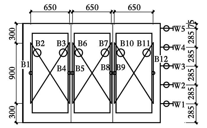 应变测量主要测量关键点的水平和竖向钢筋应变,竖向钢筋应变片主要