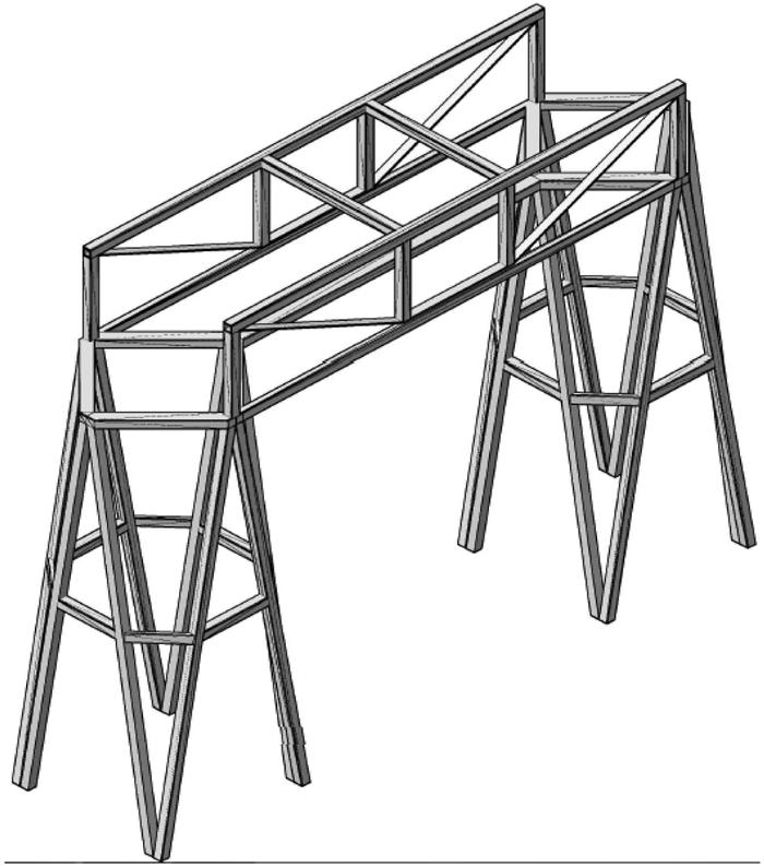 (1) 强度校核。采用第四强度理论显示应力云图。从中可以看出,结构一在竖向荷载下最大应力较大,高达55MPa,接近竹皮材料的极限抗拉强度60MPa,说明其竖向承重构件设置不合理。结构二最大应力均不超过23MPa,能满足强度要求。 (2) 模型得分比较。结构一与结构二的质量等于其体积比。 质量比为:268 492:285 933 = 0.